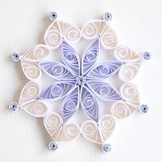 6 point white quilled snowflake with silver glitter | by redflameuk