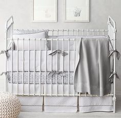 vintage-washed diamond matelassé bedding. soothing color palette for a neutral nursery. #rhbabyandchild