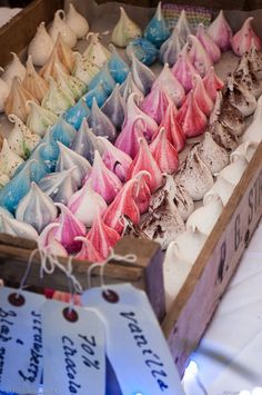 Rainbow colors meringues, melt in the mouth texture! Found at Feast, london