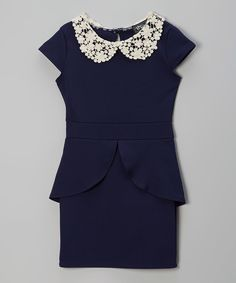 Take a look at this Navy Crocheted Collar Peplum Dress on zulily today!...too bad it's not in MY size haha
