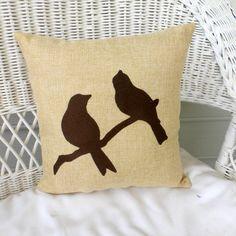 Burlap bird pillow  Embroidered Bird by JulieButlerCreations