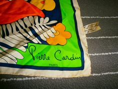 vintage pierre cardin silk scarf made in france by scarfvintage