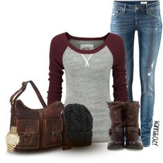 """Raglan Top and Distressed Jeans"" by wannabchef on Polyvore"