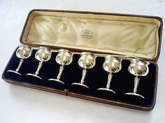 SUPERB ANTIQUE BOXED SET(6) HM SOLID STERLING SILVER TOASTING GOBLETS 1909