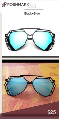 Mirror hexagon glasses brand new blue mirror sunglasses. Super cute and perfect for summer 16' Accessories Sunglasses