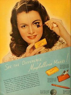 Maybelline Eye Makeup ad,  February 1947. #vintage #beauty #makeup #1940s