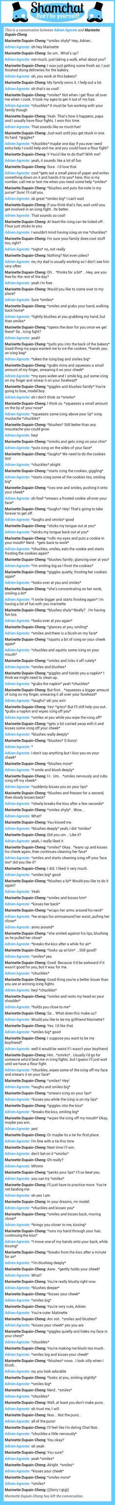 A conversation between Marinette Dupain-Cheng and Adrien Agreste