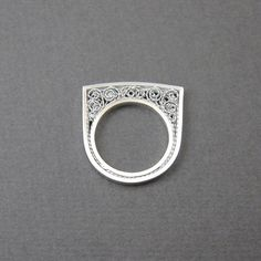 Silver filigree ring, one of a kind (ooak) modern ring, size 8, pure silver…                                                                                                                                                                                 More