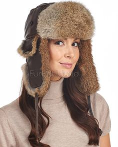a7f2a6d4e23 Womens Vintage Rodeo Leather Rabbit Fur Trapper Hat