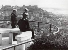 Lisbon, Portugal 1950, US Marines on a routine visit enjoying the view of the harbor, that launched a thousand ships.