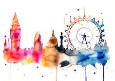 London City Watercolor Print London Watercolor por WatercolorMary