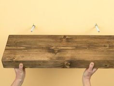 Invisible Bracketed (Floating) Shelves DIY: I really want to get some reclaimed wood and make custom shelves in the alcove, but drilling holes and injecting resin scares me. Office DIY Decor, Office Decor, Office Ideas #DIY