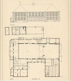"""Tegning av teaterets indre (fra boken """"Eldre Bergens-arkitektur i utvalg - 2""""."""
