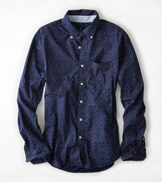 ///polka-dot pattern, dark blue color  AEO Printed Button Down Shirt