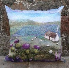 Cushion Digitally Printed with Felt Landscape Thistle Bothy