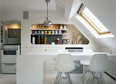 modern compact kitchen #white #eames