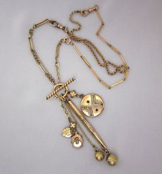 Antique Watch Chain Necklace with Victorian Watch Fob Charms - One of a Kind Heirloom Jewelry by JryenDesigns