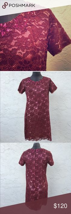 """CONETTES vintage lace shift w/ embellished collar CONETTES vintage lace shift w/ embellished collar. Cranberry lace over pink satin underlayer. Holding up beautifully over time. No rips or tears. A little raw edging but stunning dress. Mad Men Cocktails. 18"""" pit to pit laying flat. 20"""" at hip.. Approx 34.25"""" shoulder to scalloped lace hem. Holiday  gorgeousness ! The dart lines are scrumptious! Con-ettes Dresses"""