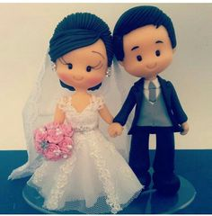 Wedding Topper, Bling Wedding, Wedding Bride, Wedding Cakes, Wedding Day, Fondant Cake Toppers, Fondant Figures, Fondant People, Doll Making Tutorials