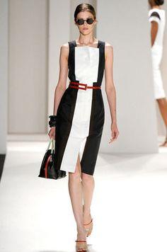 Vestido preto e branco Carolina Herrera