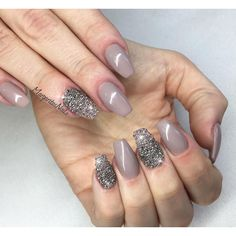 Taupe color short coffin nails #gelnails Swarovski #nailart #crystalpixie