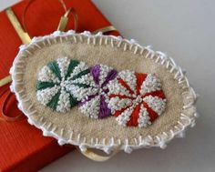 Fabric Hand Embroidery Textile Snow Candy Holiday by Waterrose, $23.00