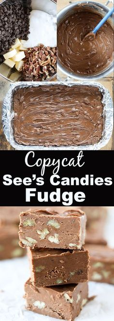 This Copycat Sees Fudge is so delicious and extremely easy to make. Sees Candies is definitely a Christmas favorite around our house and everyone loves their fudge! This recipe makes an entire 913 pan of delicious fudge so its perfect for gift giving. Peanut Brittle Recipe, Brittle Recipes, See's Fudge Recipe, Chocolate Fudge Recipes, Food Network Fudge Recipe, Hershey Fudge Recipe, Simple Fudge Recipe, Easy Fudge, Chocolate Ganache