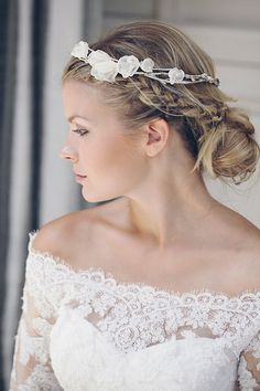R695 Chiffon flower garland crown - Crochet detail - Wedding  hair accessories colours to order.