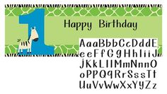 Wild At One Zebra Giant Party Banner with Stickers :   Banner: 152.4cm x 50.8cm; Includes Alphabet Sticker sheet for customising your banner