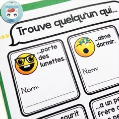 """French Back-to-school Lapbook EMOJI: the perfect activity for """"la rentrée""""! This French lapbook has writing prompts, foldable flaps, and more – with lots of emojis :D This """"find someone who..."""" with emojis will win your students over ;)"""