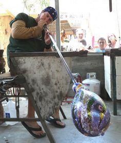 Glass blowing at Sawdust Art Festival in Laguna Beach, CA