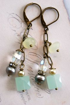 Sophia.sea blue quartz,baroque pearl,new jade ,romantic earrings. Tiedupmemories