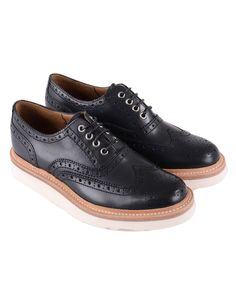 Black Grenson Emily Brogue Shoe | Accent Clothing Brogues, Brogue Shoe, Black Shoes, Oxford Shoes, Dress Shoes, Footwear, Lace Up, Autumn, Clothes
