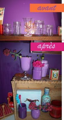 recycled jars and purple acrylic paint in my kitchen