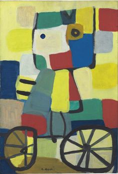 Karel Appel - Cycliste, 1951. Oil on canvas, 28 3/4 x 19 3/4 in. (73 x 50.1 cm.). @ Christie's Images, New York