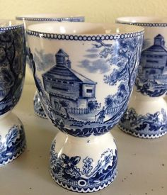 Antique Set 5 Blue White Staffordshire Double Egg Cups England | eBay