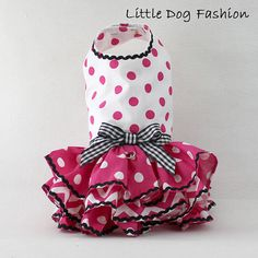 Summer dress for dogs Pink Polka dots on White by LittleDogFashion