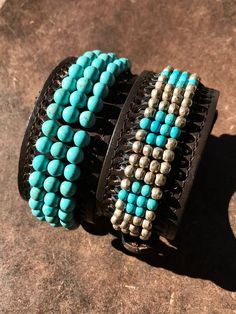 Turquoise Leather-based Cuff   Etsy