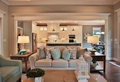 Kitchen Living Room House of Turquoise: Set The Stage - It was no surprise to learn this beautiful Louisville home won place for Favorite Designer in the Homearama Shakes Run (Its builder, Provident Homes of Kentucky, also won place for Fa… Coastal Living Rooms, Living Room Interior, Living Room Decor, Open Kitchen And Living Room, Kitchen Family Rooms, Layouts Casa, House Layouts, House Of Turquoise, Living Room Remodel