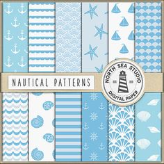 Nautical Digital Paper -  http://etsy.me/2cZUjRn This pack includes 12 digital scrapbook papers with soft blue nautical patterns.