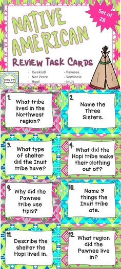 These Native American task cards are an awesome way to review the Hopi, Inuit, Seminole, Nez Perce, Pawnee, and Kwakiutl tribes. They can be used to play SCOOT, an independent review game, or a small group review.  Includes: - 28 task cards - recording sheet - answer key
