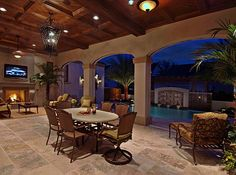 This can connect to dining room and kitchen with huge wide sliding glass door. interior Patio with pool, spanish style house Outside Living, Outdoor Living Areas, Outdoor Rooms, Outdoor Kitchens, Living Spaces, Indoor Outdoor, Outdoor Dining, Back Patio, Backyard Patio
