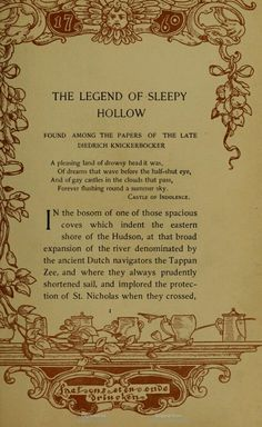 The text in this is framed by several different block prints in different colours. The Legend of Sleepy Hollow, by Washington Irving. Borders are by Margaret Armstrong. Sleepy Hollow Book, Sleepy Hollow Halloween, Legend Of Sleepy Hollow, Holidays Halloween, Happy Halloween, Halloween Stuff, Halloween Party, Film Tim Burton, Rip Van Winkle