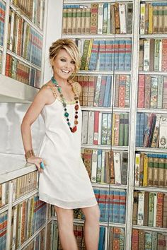 kelly ripa... with a white dress & colorful jewelry.. she is funny, gorgeous and stylish. Just <3 her!