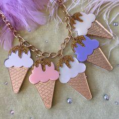 Pastel helado cono corte collar de encanto por imyourpresent