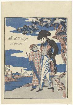 Anonymous | Nederlands opperhoofd met Javaanse bediende, Anonymous, Yamamotoya, 1800 - 1850 | Nederlander met hond, staand naast bediende met parasol, in westers landschap; 'berg en landschap' zoals vermeldt op de prent is een letterlijke vertaling van het Japanse woord voor 'landschap': sansui. (Nagasaki-e)