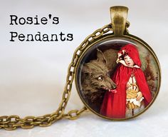 Little Red Riding Hood w Big Bad Wolf by Jessie Willcox Smith by RosiesPendants