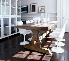 trestle table and tulip chairs