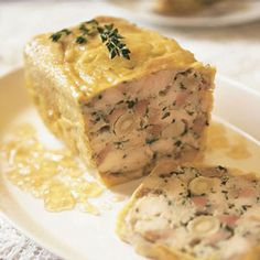 Chicken Terrine with Macadamia Nuts_ This recipe is based on a terrine created by Brisbane chef Philip Johnson. Pate Recipes, Cooking Recipes, Terrine Recipes, Mousse, Chicken Terrine, Macadamia Nut Recipes, Charcuterie Recipes, Cuisine Diverse, Sauces