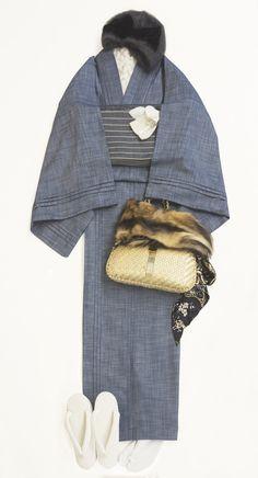 ピンタック着物(デニムシャンブレー) | 着物、浴衣 さく研究所 Traditional Japanese Kimono, Modern Kimono, Yukata, Winter Hats, Asian, Costumes, Clothes, Cover, Style
